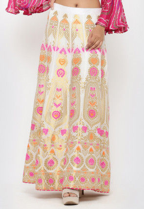 Woven Banarasi Art Brocade Silk Long Skirt in Off White