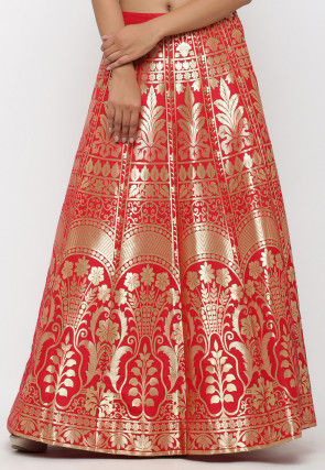 Woven Banarasi Art Brocade Silk Long Skirt in Red