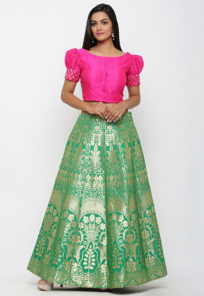 Woven Banarasi Brocade Silk Crop Top with Skirt in Green and Fuchsia