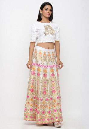Woven Banarasi Brocade Silk Crop Top with Skirt in Off White