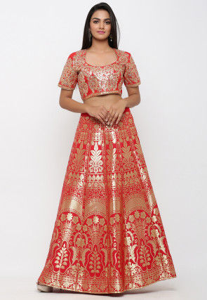 Woven Banarasi Brocade Silk Crop Top with Skirt in Red and Red