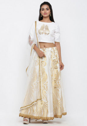 Woven Banarasi Brocade Silk Lehenga in Off White
