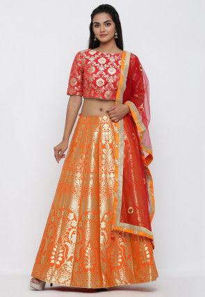 Woven Banarasi Brocade Silk Lehenga in Orange