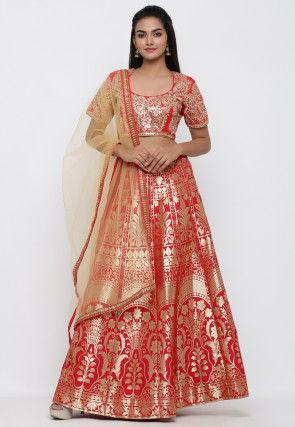 Woven Banarasi Brocade Silk Lehenga in Red