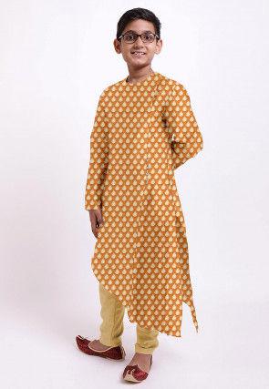 Woven Banarasi Chanderi Silk Asymmetric Kurta in Orange