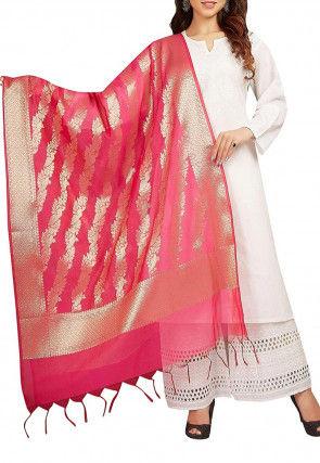 Woven Banarasi Chanderi Silk Dupatta in Fuchsia