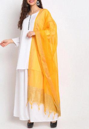 Woven Banarasi Chanderi Silk Dupatta in Mustard