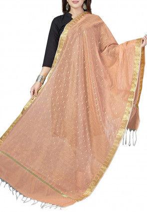 Woven Banarasi Chanderi Silk Dupatta in Peach