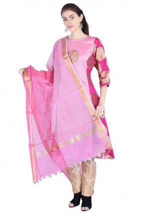 Woven Banarasi Silk A Line Suit in Pink