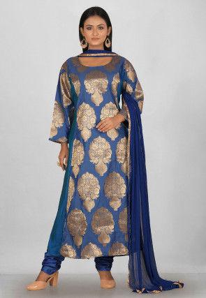 Woven Banarasi Silk Anarkali Suit in Blue