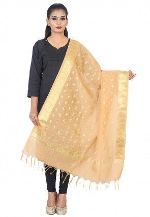 Woven Banarasi Silk Dupatta in Beige