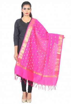 Woven Banarasi Silk Dupatta in Pink