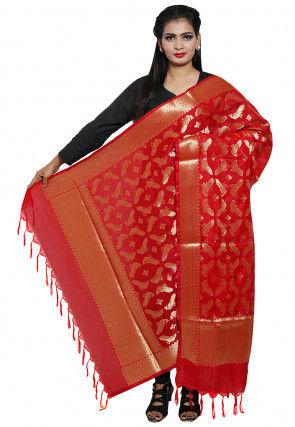 Woven Banarasi Silk Dupatta in Red