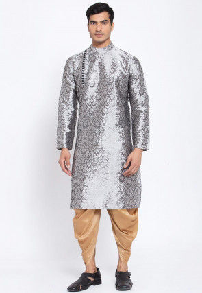 Woven Banarasi Silk Jacquard Dhoti Kurta in Grey