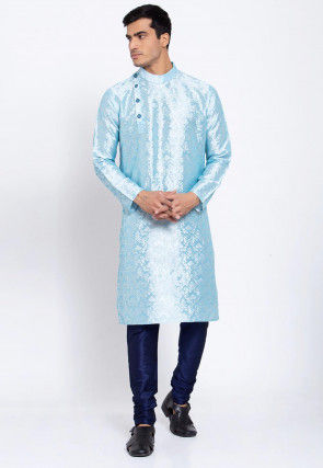 Woven Banarasi Silk Jacquard Kurta Set in Sky Blue