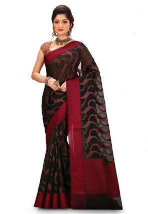Woven Banarasi Silk Jacquard Saree in Black