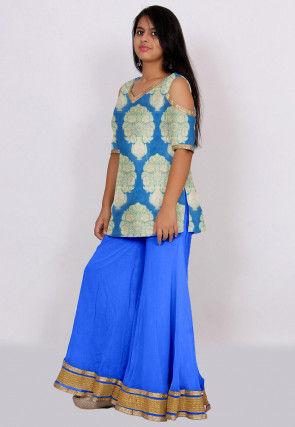 Woven Banarasi Silk Kurti Set in Blue