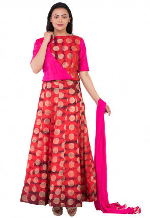 Woven Banarasi Silk Lehenga in Red and Maroon
