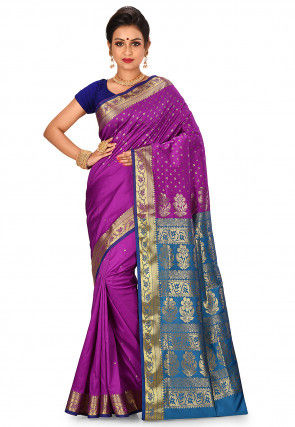 Woven Banarasi Silk Saree in Purple