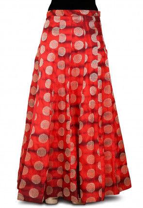 Woven Banarasi Silk Skirt in Shaded Red