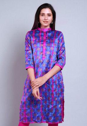 Woven Banarasi Silk Straight Kurta in Indigo Blue and Fuchsia