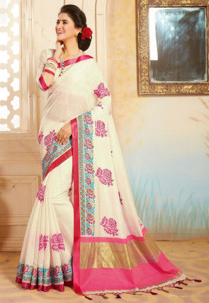 Woven Bangalore Silk Saree in Off White
