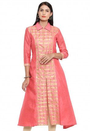 Woven Bhagalpuri Silk A Line Front Slit Kurta in Baby Pink