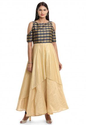 Woven Bhagalpuri Silk Layered Kurta in Golden and Blue