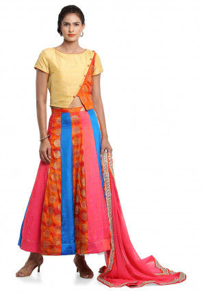 Woven Bhagalpuri Silk Lehenga in Multicolor