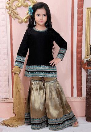 Woven Border Art Silk Pakistani Suit in Black