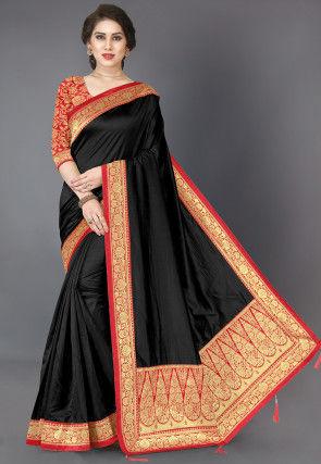 Woven Border Art Silk Saree in Black