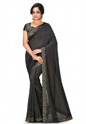 Woven Border Art Silk Saree in Charcoal Black