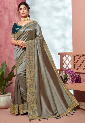 Woven Border Art Silk Saree in Grey