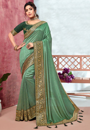 Woven Border Art Silk Saree in Light Green