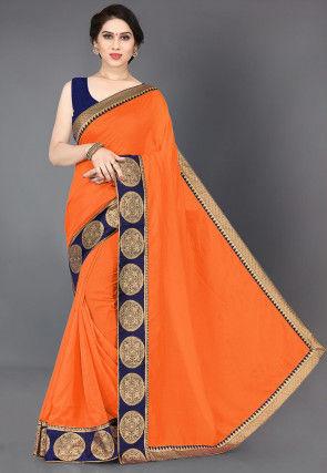 Woven Border Art Silk Saree in Orange
