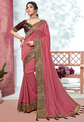 Woven Border Art Silk Saree in Pink