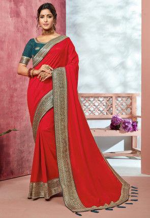 Woven Border Art Silk Saree in Red