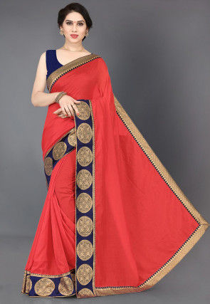 Woven Border Art Silk Saree in Red