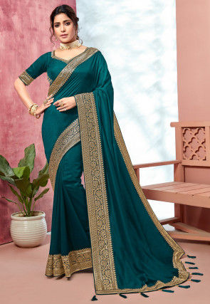 Woven Border Art Silk Saree in Teal Green