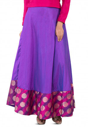 Woven Border Art Silk Skirt in Purple