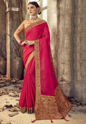 Woven Border Chanderi Silk Saree in Fuchsia