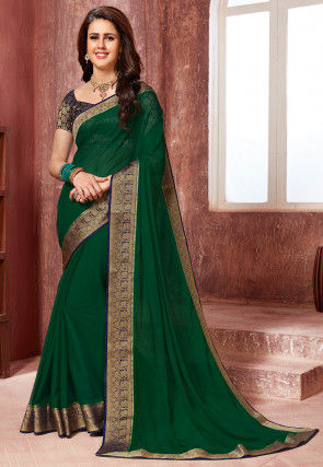 Woven Border Chiffon Saree in Dark Green