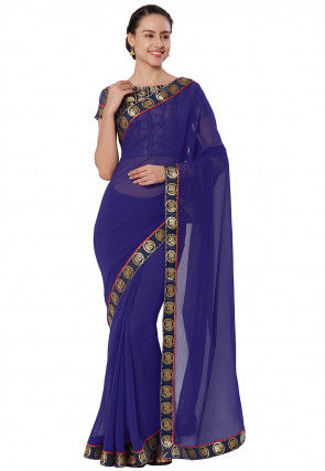 Woven Border Chiffon Saree in Navy Blue