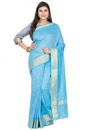 Woven Border Cotton Silk Saree in Light Blue