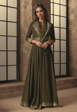 Woven Border Cotton Silk Top Jacket Set in Olive Green