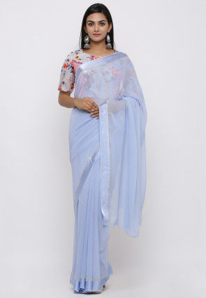 Woven Border Georgette Saree in Pastel Blue