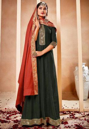 Woven Border Muslin Silk Abaya Style Suit in Dark Dusty Green