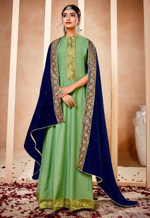 Woven Border Muslin Silk Abaya Style Suit in Light Green