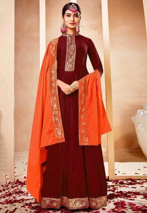 Woven Border Muslin Silk Abaya Style Suit in Maroon