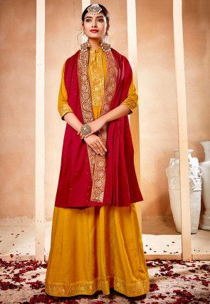 Woven Border Muslin Silk Abaya Style Suit in Mustard